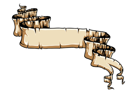 Old scroll paper hand drawn vector.