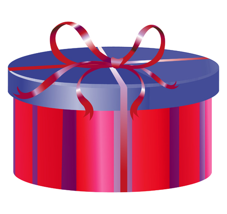 Blue and red round gift box with striped pattern and shiny ribbon and bow vector illustration.