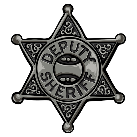 Cartoon policeman emblem vector illustration. Old sheriff badge.