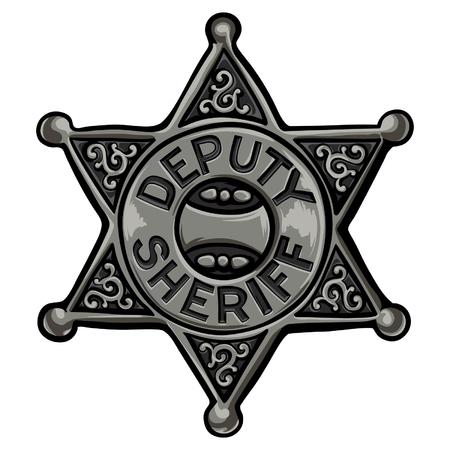 ilustración de vector emblema de policía de dibujos animados . ilustración de la insignia de steampunk