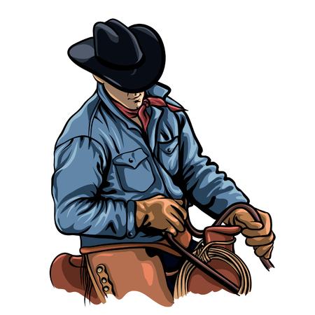 Cowboy riding horse vector illustration. Cartoon man on saddle.
