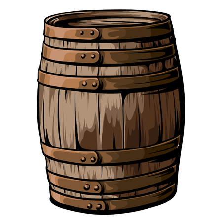 Old, hand drawn, wooden barrel with iron rings vector on white background.