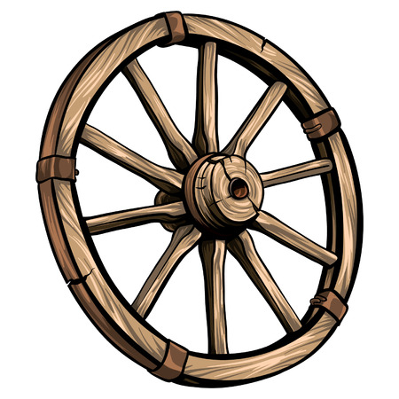 Old wagon wooden wheel vector illustration. Cartoon romantic illustration. Çizim