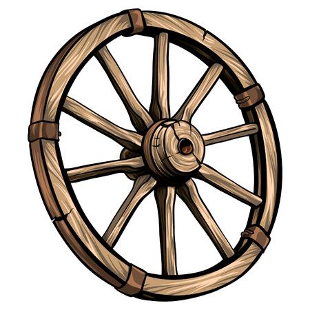 Old wagon wooden wheel vector illustration. Cartoon romantic illustration. Illustration