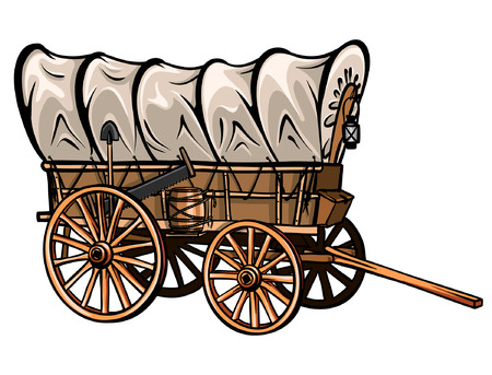 Vagón cubierto de madera estilo salvaje oeste con barril, pala, sierra y linterna. Vector occidental dibujado a mano.