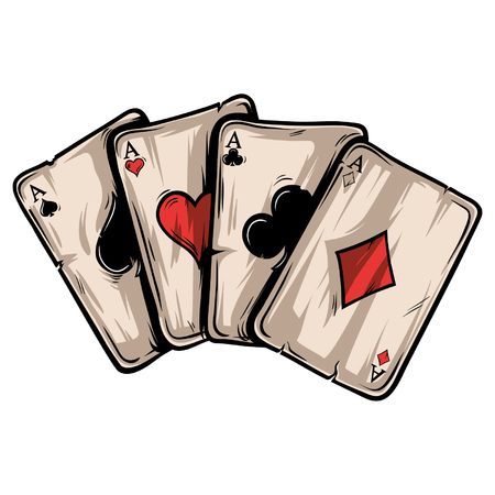 Four aces poker playing cards on white background. Carton hand-drawn vector illustration. Stock Illustratie