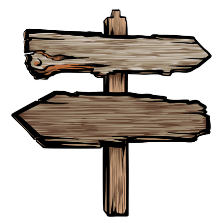 Old wooden cartoon sign. Rustic direction arrow vector isolated on white. Empty wood texture road sign.