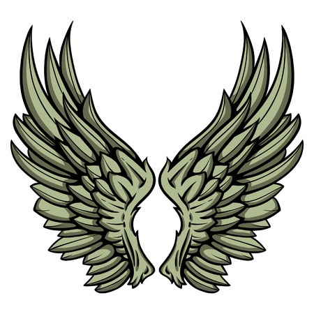 Detailed hand drawn pair of wings vector illustration.