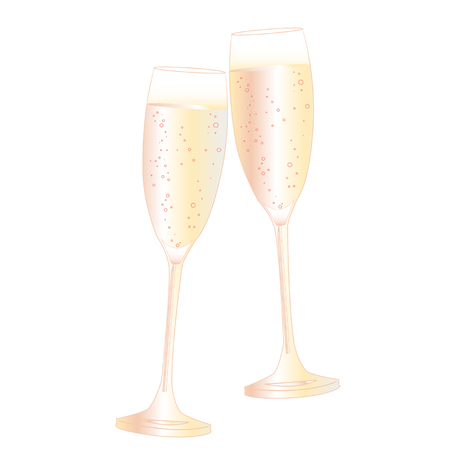 Two glasses of champagne with bubble vector illustration.