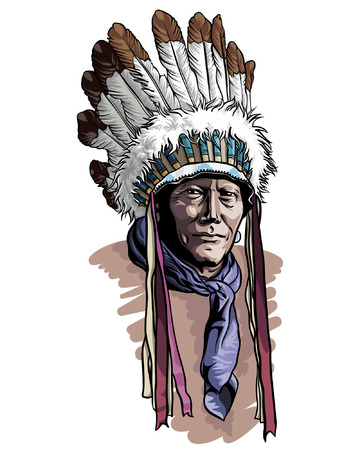 Native american portrait with chief headdress vector illustration. Apache man wearing an indian chief headdress.