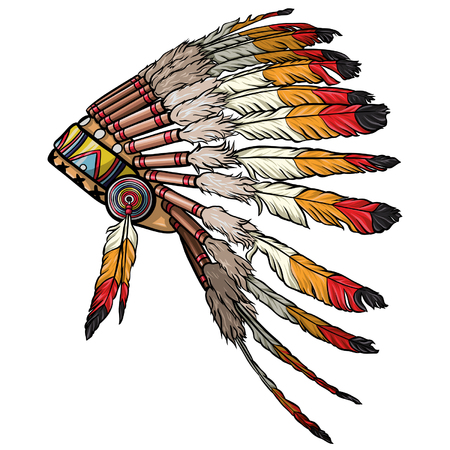 Native american feather headdress vector.