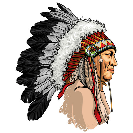 Detailed, hand drawn, native american sitting bull vector portrait. Headdress with feathers indian chief of tribe. Stock Illustratie