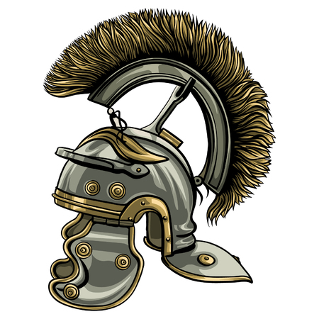 Detailed, hand drawn roman ancient helmet with black outline.