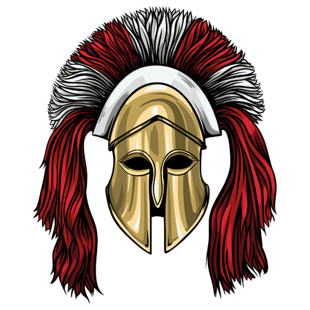 Greek corinthian helmet vector with red crest. Beautiful ancient helmet with shadows and lights. Vector Illustration