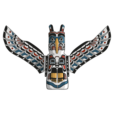 Native american eagle totem vector. Traditional thunderbird icon. American mythology symbol. Vettoriali