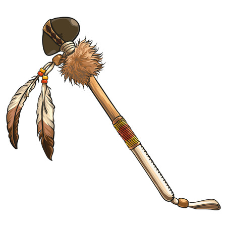 Native american stone tomahawk with feather decoration. Detalied axe vector element.