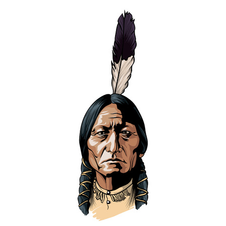 Hand drawn vector sitting bull portrait native american chief.