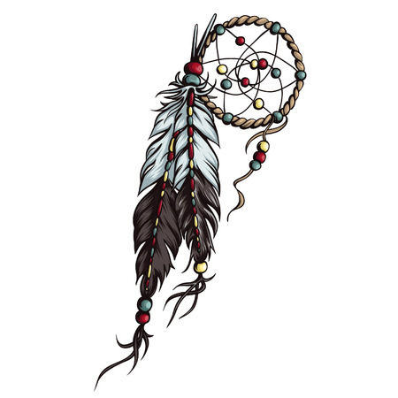 Detailed dreamcatcher vector illustration with beads and feathers. Hand drawn native american talisman; sleep protection. Vettoriali