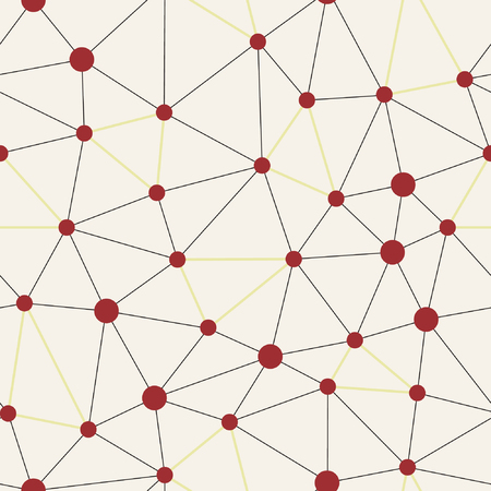 Abstract grid structure with triangles and red dots seamless pattern. Lines mesh repeat vector.
