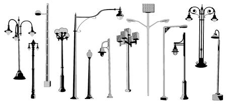 Conjunto de siluetas vectoriales de farolas retro y modernas. Colección de farolas urbanas. Ilustración de vector