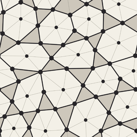Bionic hexagonal grid structure with triangle and dots in nodes seamless pattern. Vector polygonal structure.