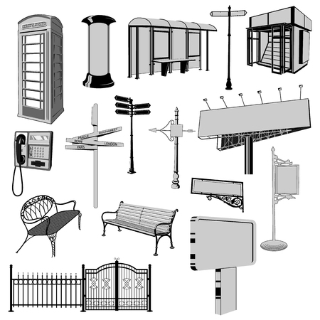 Collection of urban furniture vector silhouette. London phone booth, road signs, unipole, billboard, bus stop, bench, newspaper stand.