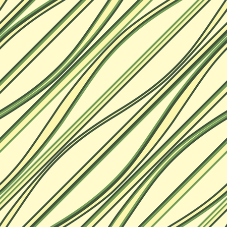 Green diagonal undulate lines vector background. Wavy structure seamless pattern.