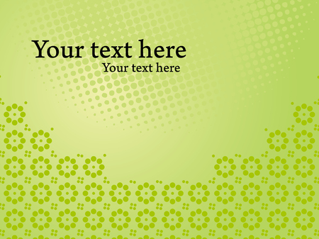 Glossy green corporate presentation template. Vector background with dots and floral pattern.