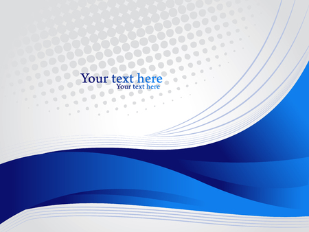 Horizontal background for corporate cover with grey text space. Abstract blue wavy shapes vector illustration.