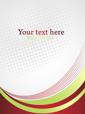 Vertical business presentation template with gray space for text. Vector abstract background with curves and dots. Иллюстрация
