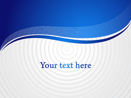 Blue horizontal curly shapes and gray space for your text. Vector presentation background.