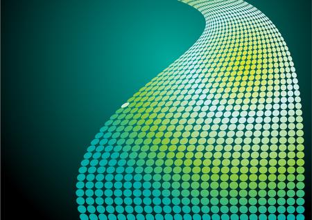 Undulating pattern dots vector background. Gradient neon light. Иллюстрация