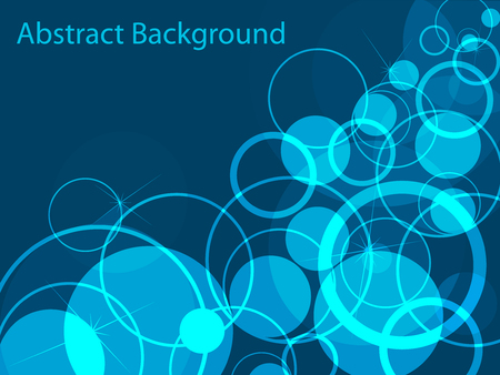 Bubble shiny circles on blue vector background. Abstract backdrop for cover presentation. Иллюстрация