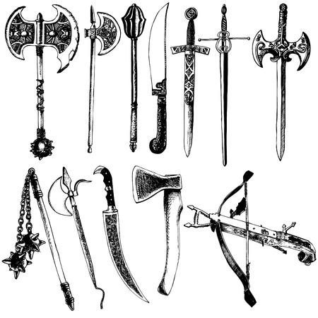 Medieval weapons vector set. Axe, sword, billhook, crossbow, claymore, halberd, flail,  flanged mace, spiked mace. Ilustração