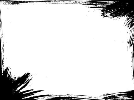 Paintbrush damaged vector frame. Grunge illustration border.