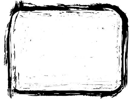 Grunge photo frame with rounded corners. Brush border design. Иллюстрация