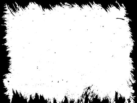 Damaged rectangle border for aged illustration design. Grunge vector frame.