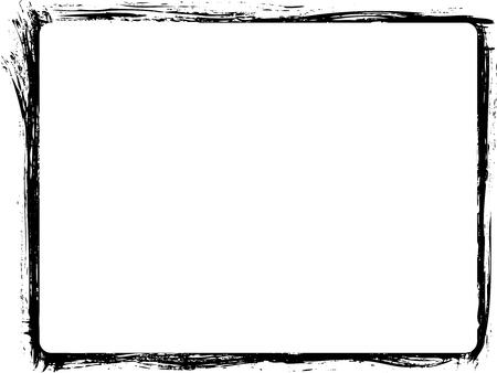 Paintbrush border for aged design. Grunge vector frame.