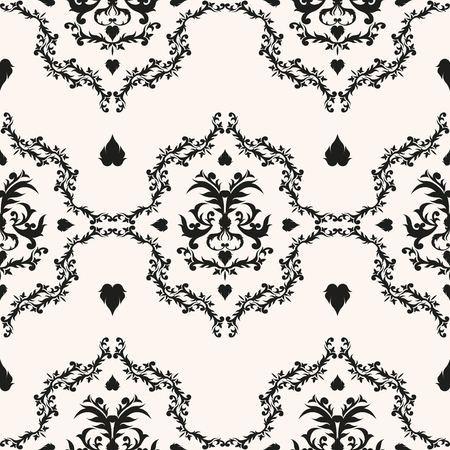 Royal victorian vector background. Monochrome baroque texture. Classical damask seamless pattern.