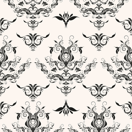 Elegant damask seamless pattern. Repeating rococo vector background.