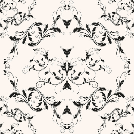 Luxury fabric romantic texture. Elegant curly baroque design. Vintage victorian vector seamless pattern.
