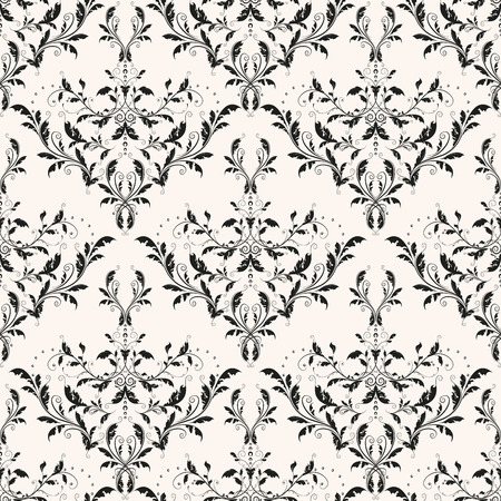 Old, elegant, floral vector decor. Renaissance curl background. Classic damask seamless pattern for wallpaper.