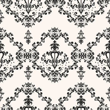 Baroque romantic repeating vector texture for paper packaging and wallpaper. Retro victorian design. Damask seamless pattern. Иллюстрация