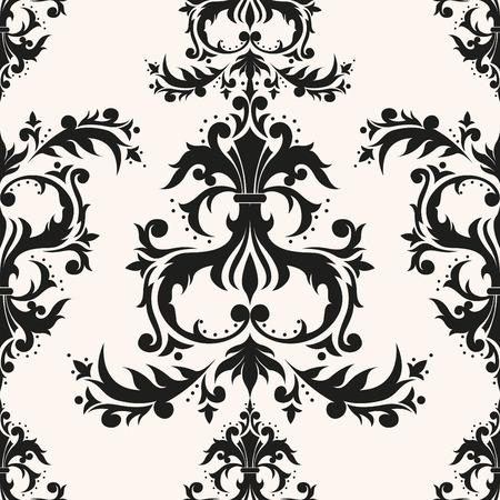 Imperial rococo vintage design seamless pattern. Elegant baroque texture. Luxury rococo repeating vector. Иллюстрация