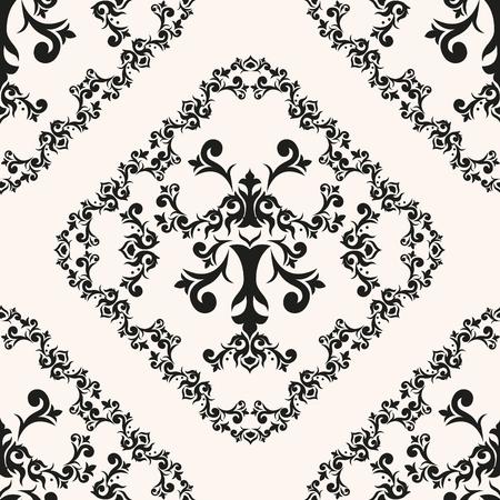 Vintage curly vector background. Repetitive retro packaging decor. Elegant victorian rhombus. Damask seamless pattern floral illustration. Иллюстрация