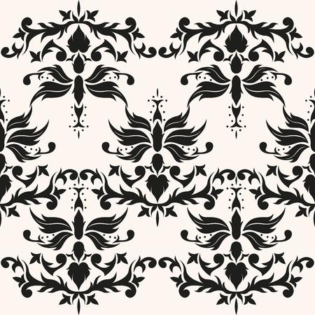 Old ornamental venetian background. Repeating baroque elegant decor. Classic damask seamless pattern. Иллюстрация