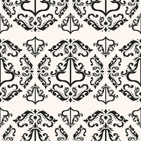 Old damask vector for romantic decor. Baroque floral graphic texture. Elegant victorian seamless pattern. Иллюстрация