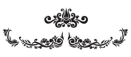 Abstract floral border and central vector element. Elegant black floral frame concept. Floral tattoo line and middle art design. Иллюстрация