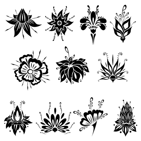 Abstract silhouette of blossom flower vector pack. Ornamental floral concept. Black flourish plant with petals and stamens. Ilustração
