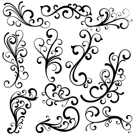 Beautiful abstract curls collection. Elegant floral vector concept.